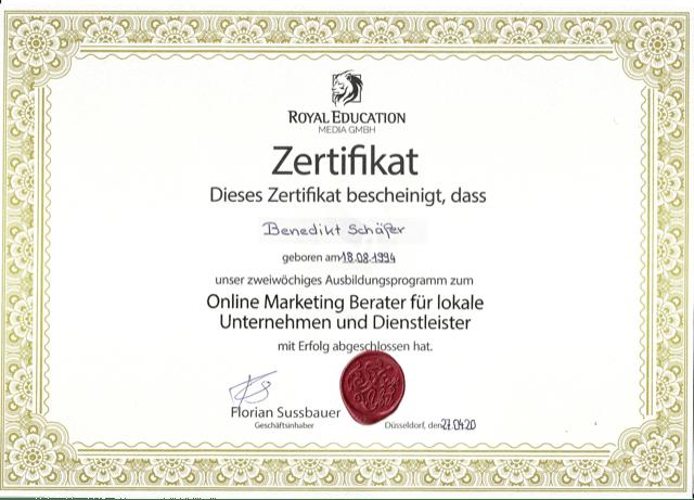 Zertifikat Online Marketing Berater